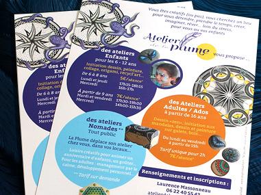 Logo et flyer pour l'Atelier de la Plume