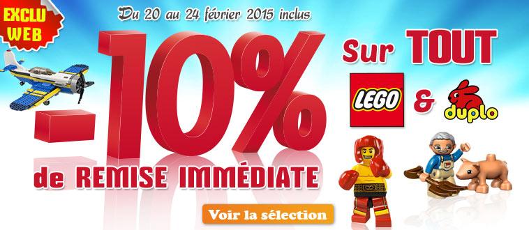 Publicité Homepage site Web - Remise -10% sur Lego
