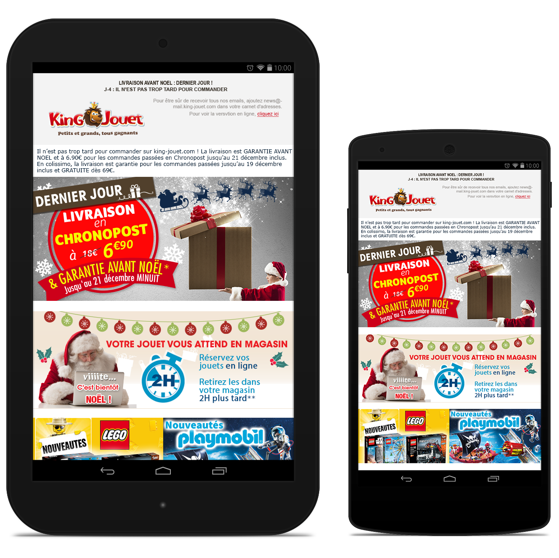 Newsletters King Jouet - Livraison avant Noël