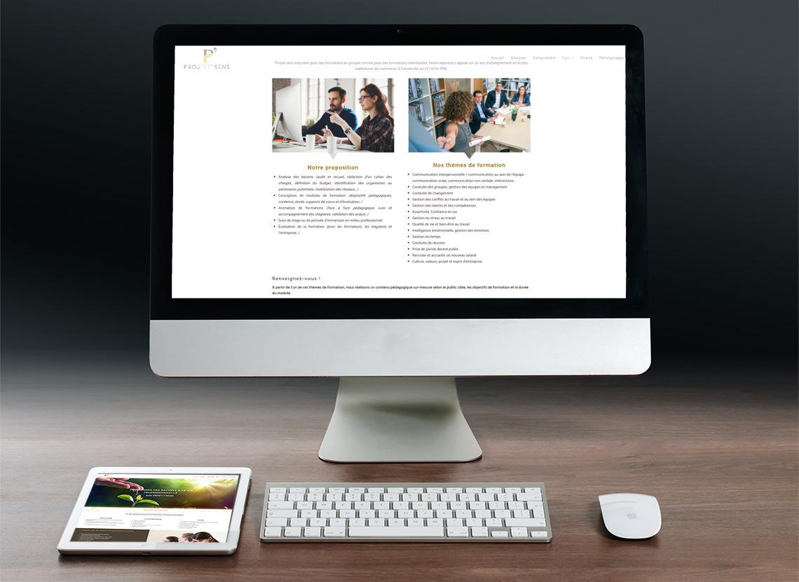 Proj'et'sens - Création site web - Page Se former